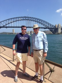 Dad and I in front of Sydney Harbour Bridge